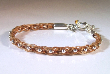 Rectangular Braid Horsehair Bracelet With Sterling Silver Bead And Citrine Cabochons In The Toggle Clasp Bar